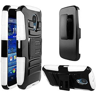 Zizo Heavy Duty Armor Style 2 Case with Holster for Motorola Moto G2 - Retail Packaging - White/Black