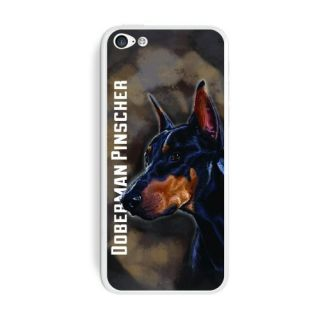 Graphics and More Doberman Pinscher Black On Brown - Dog Pet Protective Skin Sticker Case for Apple iPhone 5C - Set of 2