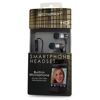 Emerson EM887BR Stereo Headset for iPhone, Blackberry and All 3.5mm Headset Jacks - Retail Packaging - Brown