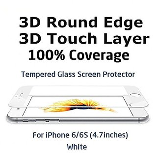 3D Round Edge, Full Cover Surface Soft Curve Egde Ballistic Glass Screen Protector for iPhone 6/6S (White)