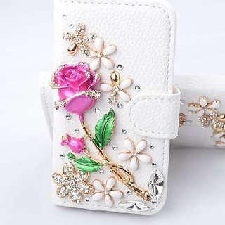 Galaxy Note 5 Case,HAOTP (TM) White Luxury 3D Fashion Handmade Bling Crystal Rhinestone PU Flip Wallet Leather Case Cove