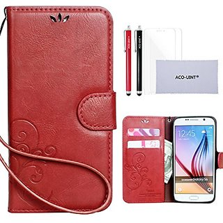 S6 Case, Samsung Galaxy S6 Wallet Case, ACO-UINT Premium Vintage Emboss Flower Flip Wallet Leather Magnetic Closure Cove
