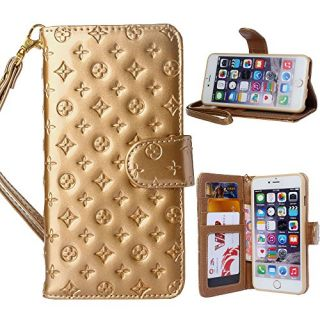 iPhone 6 Plus Case, GX-LV Premium Emboss Flower Wrist Strap Leather Wallet Case Cover with Card Slots for Apple iPhone 6