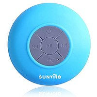 Sunvito Wireless Portable Bluetooth Waterproof Suction Cup Speaker For Showers,Boat,Car,Beach,Outdoor Use (Blue)