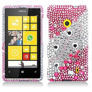 Aimo NK521PCLDI659 Dazzling Diamond Bling Case for Nokia Lumia 521 - Retail Packaging - Layer Pink