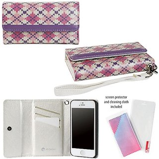 JAVOedge Pink Purple Argyle Tri Fold Case / Card Holder, Screen Protector, Wristlet for the Apple iPhone 5S / iPhone 5