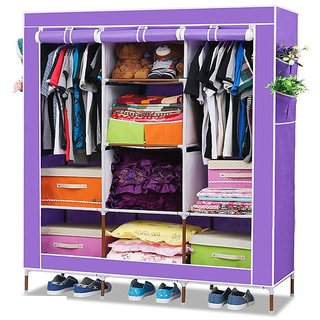 EI Stylish & Foldable Canvas Cupboard, Cabinet, Almirah, Wardrobe, Purple available at ShopClues for Rs.7100