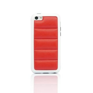 Gearonic Ultra Slim Rugged PC Bumper Case with Jelly Back Support for iPhone 5C - Non-Retail Packaging - Red/White