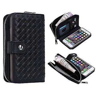 iPhone 6 6s Plus Wallet Case, Bellivin Woven Pattern Leather Wallet Case Zipper Style Purse for iPhone 6 plus / 6s Plus