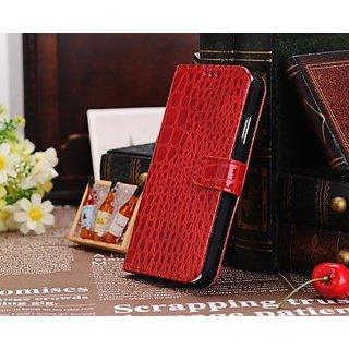 Idol Crocodile Skin Luxury Leather Magnetic Flip Stand Wallet Case Cover for Samsung Galaxy S4 (Red)