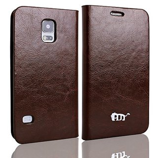 PDNCASE New Samsung Galaxy S5 Case Genuine Leather Wallet Cover Compatible for Samsung Galaxy S5 / SV (2014) Color Brown