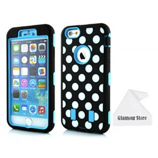 iPhone 6 Case,Light Blue+White Polka Dot Patterns Heavy Duty Defender Dirt Shockproof Armor Case Cover For Apple iPhone