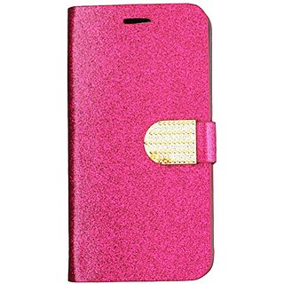 HR Wireless Shiny PU Leather Bling Flip Wallet Credit Card Cover Case for iPhone 6 Plus - Retail Packaging - Hot Pink