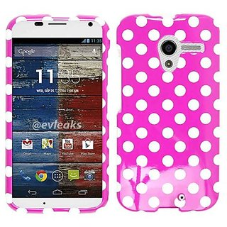 Cell Armor Motorola Moto X Deluxe Snap On Case - Retail Packaging - White Dots On Pink