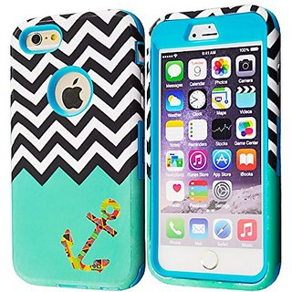 iPhone 6 Plus Case MOUKOU(TM) Hybrid Hard Armor Shell and Silicone Skin Chevron Pattern with Anchor Design Case Cover fo