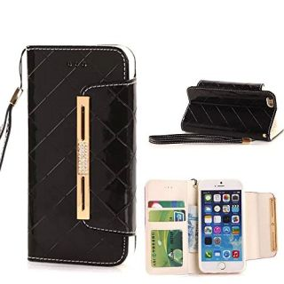 Thinkcase PU Leather Elegant Design Card Holder Wallet Case with Strap for Apple iPhone 6 - Black