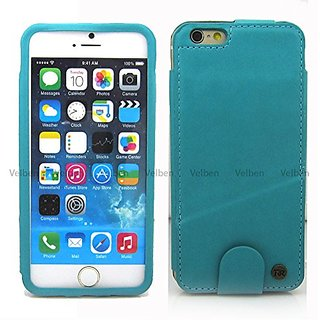 iPhone 6 6S Case, leather wallet Slim Slide card Flip book wallet Kickstand case cover (Turquoise)