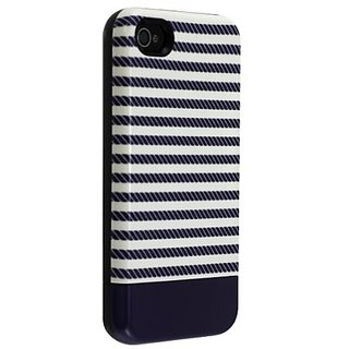 Uncommon LLC C0070-DM Rope Stripe Capsule Hard Case for iPhone 4/4S - Retail Packaging - Blue/White