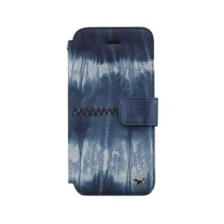 Zenus Tie Dye Folio Cover Case for Apple iPhone 5 (Blue)