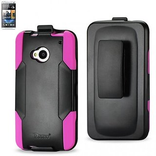 Reiko SLCPC09-HTCM7HKBK Silicone Case/Protector Cover for HTC One M7 - Retail Packaging - Hot Pink/Black