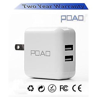 POAO 5V 2.1A AC Power Adapter Dual USB Travel Wall Charger with SmartID Technology, Foldable Plug for iPhone iPad, Samsu