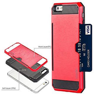 iPhone 6S Plus, iPhone 6 Plus, Dual-layer Heavy Duty Matte Rugged Protective Cover Case with Credit Card Slot Holder for