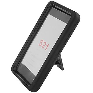 Eagle Cell Hybrid Skin Case with Stand for Nokia Lumia 521 - Retail Packaging - Black