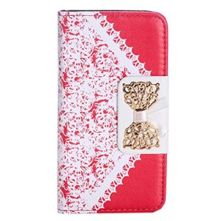 EVERMARKET(TM) Hot Pink Bow Lace Fashion Girl Woman Fresh Sweet Cute Flip Wallet Leather Case Cover for Apple iPhone 5C
