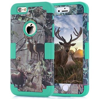 iPhone 6 Cases, JDBRUIAN Forest Camouflage Zoo Pattern Design 3in1 Hybrid Hard soft Premium Heavy Duty Defender Dual Lay