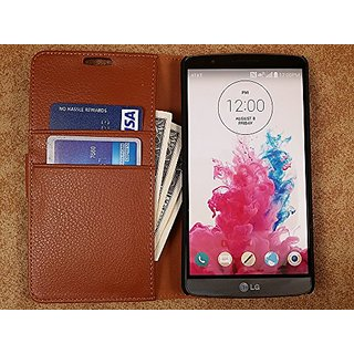 High Quality Vegan Leather Folio Wallet Case with Magnetic Enclosure and Kickstand for LG G3 LS990 / D850 / D855 - Brown