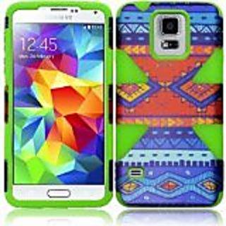 HR Wireless Samsung Galaxy S5 Dynamic Slim Hybrid Cover Case, Blue Decorative Tribal/Neon Green