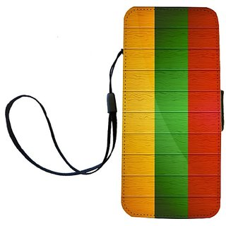 Rikki Knight Lithuania Flag on Distressed Wood Flip Wallet iPhoneCase with Magnetic Flap for iPhone 5/5s - Lithuania Fla
