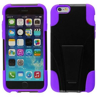 HYBRID PC/SC Combo Cover With Kickstand For iPhone 6 - Purple HYB
