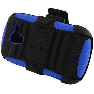 Eagle Cell Samsung Galaxy Exhibit/T599 Hybrid Skin Case with Stand and Holster - Retail Packaging - Blue/Black