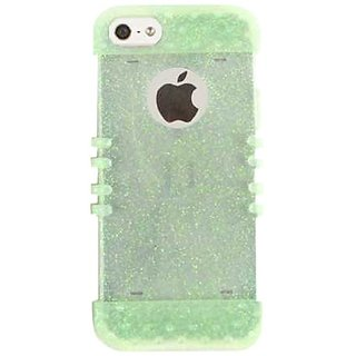 Cell Armor Rocker Silicone Skin Case for iPhone 5 - Retail Packaging - Rainbow Glitter Light Green