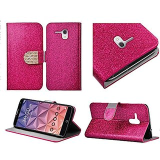 HR Wireless Bling Flip Wallet Credit Card Case for Alcatel Onetouch Fierce XL - Retail Packaging - Hot Pink