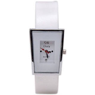 Glory white Rectangel Analog Women Watches by sports