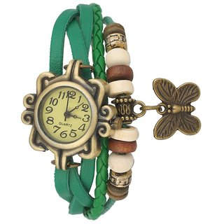 Green Leather Analog Watch For Women by Sports