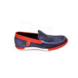 Force Hill Men Blue & Red Trendy Loafers Shoes - 2205