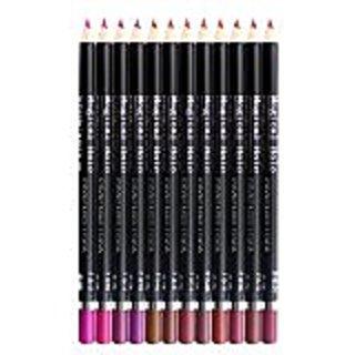 12pcs Fashion Colors Ultra Fine Lip Liner, Set of 12 Professional Waterproof Longwear Lip Liner Pencils by Sinsun