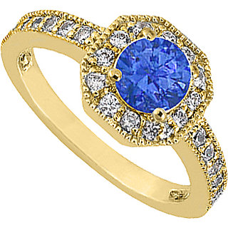 14K Yellow Gold Diamond Milgrain Engagement Ring With Blue Sapphire