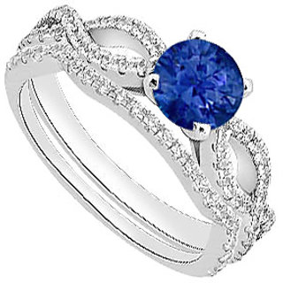 14K White Gold Natural Blue Sapphire Engagement Ring With Diamond Wedding Ring