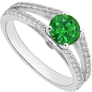 14K White Gold Green Emerald And Diamond Engagement Ring