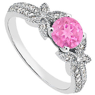14K White Gold Pink Sapphire Engagement Ring With Diamond