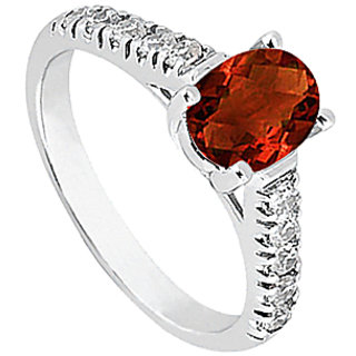 14K White Gold Triple Cz And Garnet Fashion Ring
