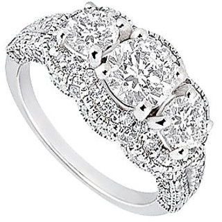 Classic 14K White Gold Triple Cubic Zirconia Engagement Ring