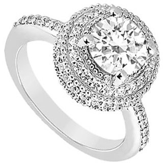 Ideal 14K White Gold Triple Cubic Zirconia Engagement Ring