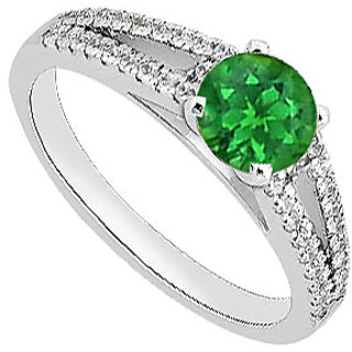 Pretty Birthstone For May Emerald With Diamond Engagement Ring In 14K White Gold
