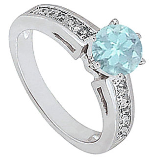 Aquamarine And Diamond Engagement Ring In 14K White Gold