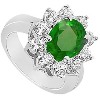 Emerald And Cubic Zirconia Floral Engagement Ring In 14Kt White Gold